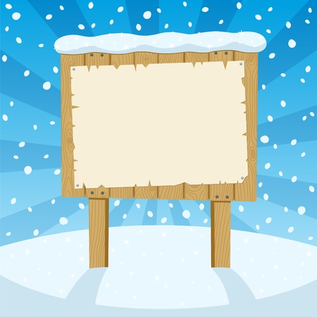 A cartoon wooden sign in the snow.  No transparency used. Basic (linear) gradients used for the sky.  Stock Vector - 7833857