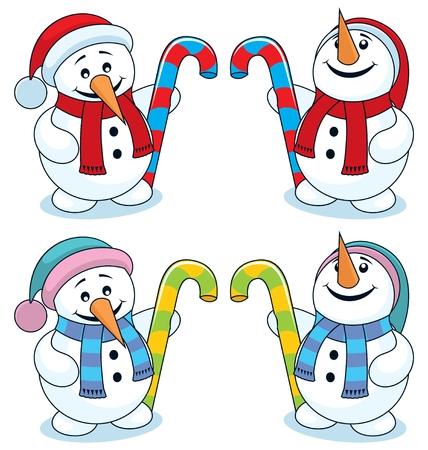 canes: Piccolo pupazzo di neve, con cappello di Natale e una canna di caramelle, cercando su e gi�. Di seguito � riportato il pupazzo di neve stessa ma in diversi colori. Senza trasparenza e sfumature utilizzati.  Vettoriali