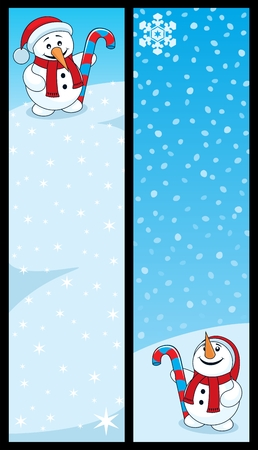 Two vertical banners for the holiday season. 160 x 600 proportions. No transparency used. Basic (linear) gradients used for the sky.  Vector