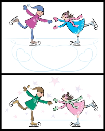 Boy and girl skating on ice. Below is another version of the same illustration. No transparency and gradients used.  Vector