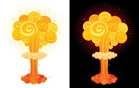 Caricature explosion nucléaire. Aucune transparence utilisée.  Vecteurs