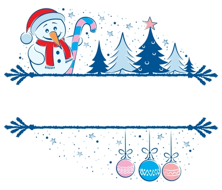 A frame for the holiday season. Place your text between the two parts of the illustration. No transparency and gradients used.  Stock Vector - 7958564