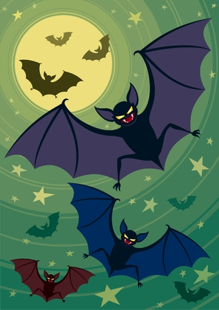 proportions: Bats seizing the night sky. A4 proportions. No transparency and gradients used.