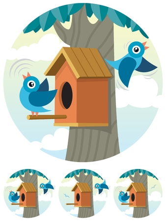 birdhouse: Cartoon birdhouse and 2 bluebirds, depicted in 4 different situations.  No transparency used. Basic (linear) gradients used for the sky.