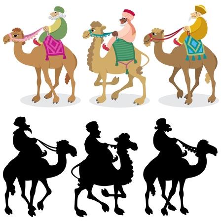 De drie verstandig mеn en hun kamelen geïsoleerd op wit. Silhouetten zijn ook opgenomen. Geen transparantie en kleur overgangen gebruikt.