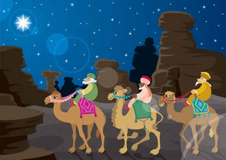 cartoon king: The three wise mеn on their camels, following the Star of Bethlehem across the desert.  No transparency used. Basic (radial) gradient used for the sky. A4 proportions.