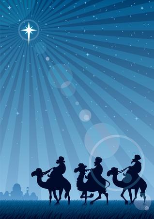 巡礼: 三賢者ベツレヘムの星に従ってください。使用される透明度なし。空と、レンズ フレア エフェクトを使用する基本的な (線形) グラデーション。A4 サイズの割合。