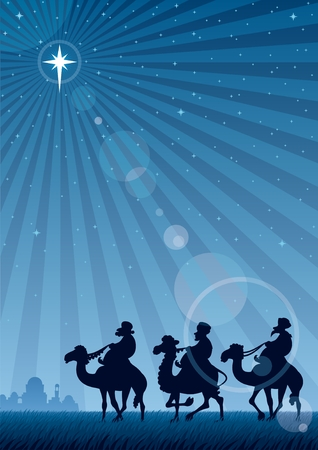 The three Magi follow the Star of Bethlehem.  No transparency used. Basic (linear) gradient used for the sky and the lens flare effect. A4 proportions.  Vector