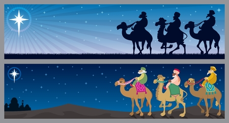 three men: Two Christmas banners with the three wise mеn and the Star of Bethlehem.  No transparency used. Basic (linear) gradient used for the sky.