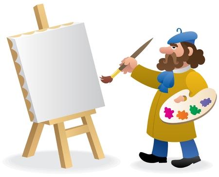 Een kunstenaar, net beginnen een nieuwe schilderij.  Geen transparantie gebruikt. Basis (lineaire) verlopen gebruikt.  Vector Illustratie