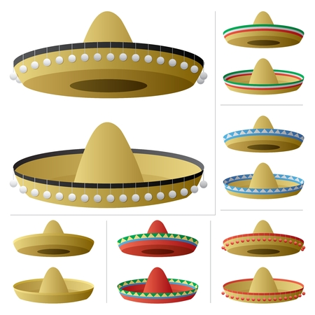 A sombrero in 2 positions and 6 color variations.  No transparency used. Basic (linear) gradients used.