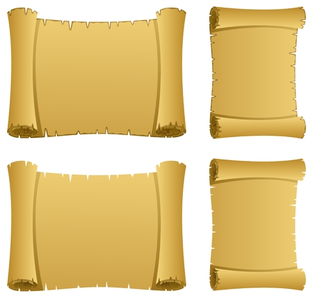 illustration of a scroll in 2 versions Vector