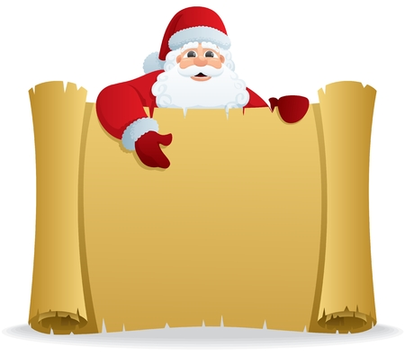 Santa, holding a scroll with copy space for your text. No transparency used. Basic (linear) gradients used.  Vector