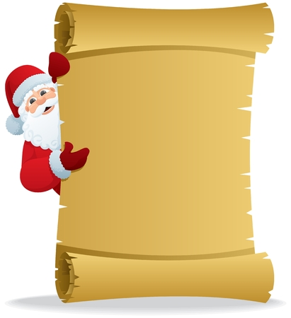 Santa, holding a scroll with copy space for your text. No transparency used. Basic (linear) gradients used.  Stock Vector - 8456036