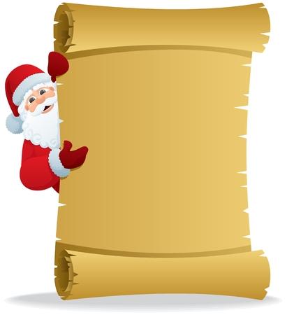 Santa, houden een scroll met kopie ruimte voor uw tekst. Geen transparantie gebruikt. Basis (lineaire) verlopen gebruikt.