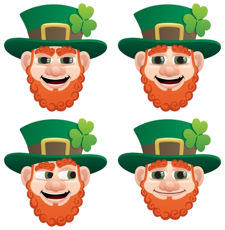clover face: A leprechaun head in 4 different face expressions.  No transparency used. Basic (linear) gradients used.