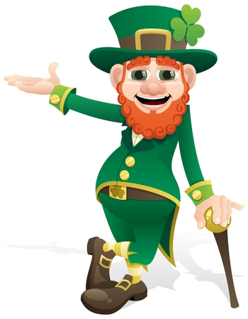red clover: A leprechaun, presenting your product or message.  No transparency used. Basic (linear) gradients used.