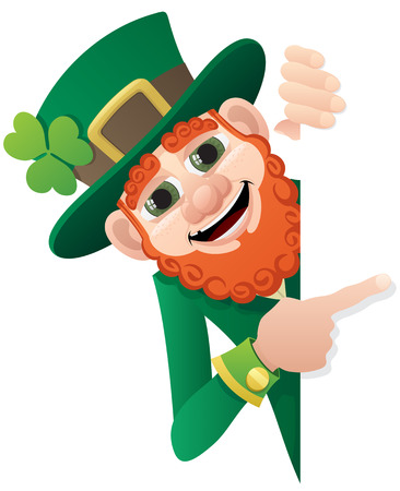 A leprechaun, holding a blank sign. You can add as much space as you need. No transparency used. Basic (linear) gradients used.  Illustration