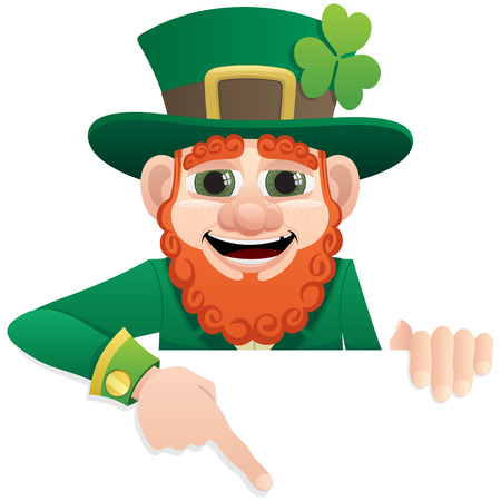 A leprechaun, holding a blank sign. You can add as much space as you need. No transparency used. Basic (linear) gradients used.  Ilustracja