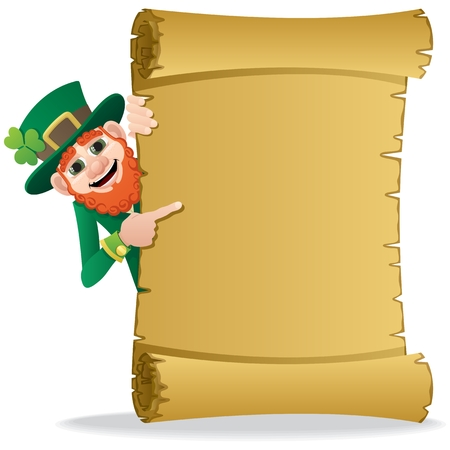 A leprechaun, holding a scroll with copy space for your text. No transparency used. Basic (linear) gradients used.  Stock Vector - 8550985