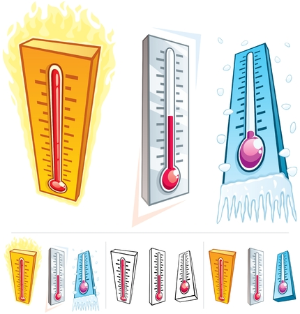 hot and cold: A thermometer in 3 different thermal conditions.