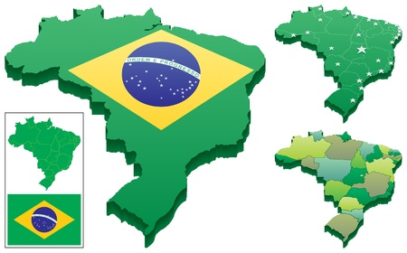 3D map of Brazil in 3 versions. Flat map of Brazil as well as the Brazilian flag are included as a bonus.  Stock Vector - 9672811
