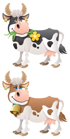domestic cattle: Cartoon cow in 2 versions.  No transparency used. Basic (linear) gradients used.