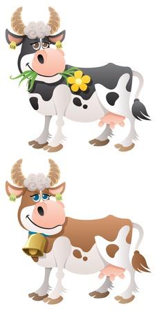 vaca: Vaca de dibujos animados en 2 versiones.  No utilizada la transparencia. Degradados (lineales) b�sicos utilizados.