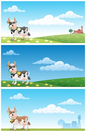 cow bells: Cartoon cow grazing on a meadow. The illustration is in 3 different versions. On 2 of them you can see the buildings of a diary farm in the distance. No transparency used. Basic (linear) gradients used.