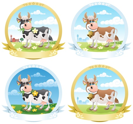 cow cartoon: 4 dairy products labels.  No transparency used. Basic (linear) gradients used.