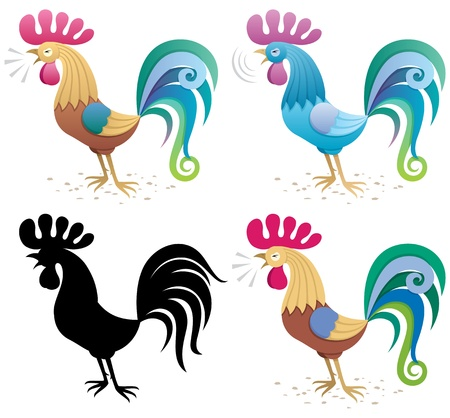 warble: Illustration of a rooster in 4 versions: Main version (built with basic linear gradients), a blue version, a silhouette and simplified versions with basic colors only (no gradients and transparency).