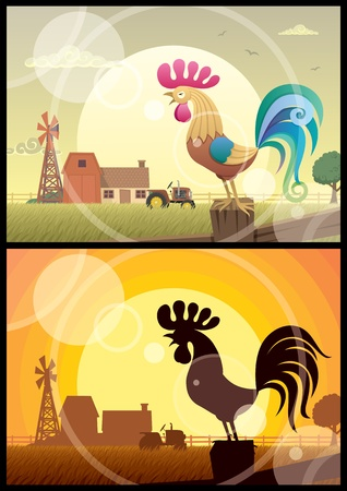 warble: 2 illustrations of crowing roosters on farm backgrounds.  No transparency used. Basic (linear) gradients used in the first illustration. No gradients in the second. A4 proportions.
