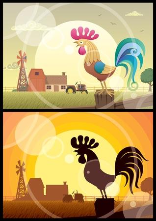 rooster at dawn: 2 illustrazioni di coronamento Galli su sfondi di fattoria.  Senza trasparenza utilizzato. Base gradienti (lineare) utilizzati nella prima figura. No sfumature nella seconda. A4 proporzioni.