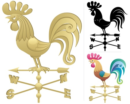 weathercock: Illustration of a weather vane in 3 versions. No transparency used. Basic (linear) gradients used.