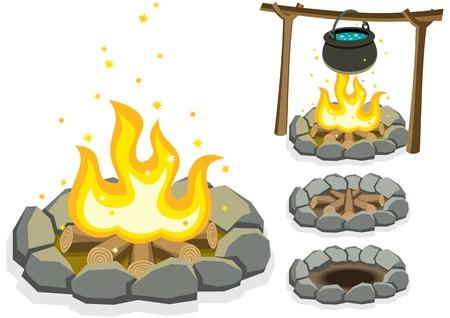 Cartoon illustratie van 4 kampvuren