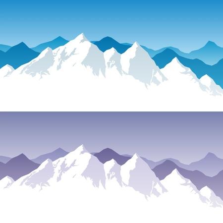 bergbeklimmen: Achtergrond met besneeuwde bergketen in 2 kleuren versies