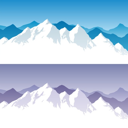 snowcapped landscape: Background with snowy mountain range in 2 color versions