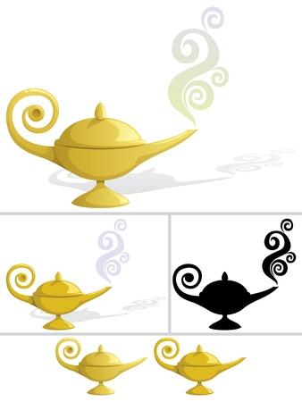 lampara magica: L�mpara m�gica en 5 variaciones Vectores