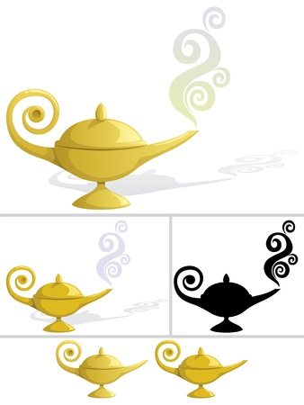 magic lamp: Magic lamp in 5 variations Illustration
