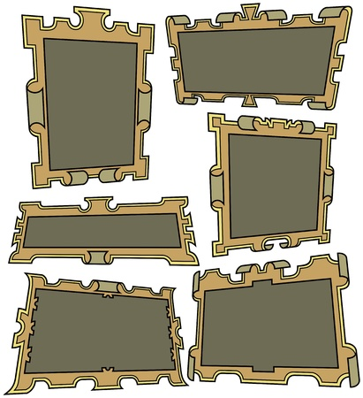 Six cartoon framesbannerslabels Vector
