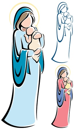 mary and jesus: Virgin Mary holding baby Jesus.  No transparency and gradients used.   Illustration