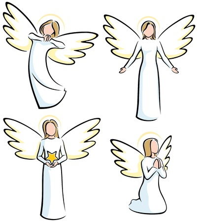 Set of 4 stylized angels.  No transparency and gradients used.  Illustration