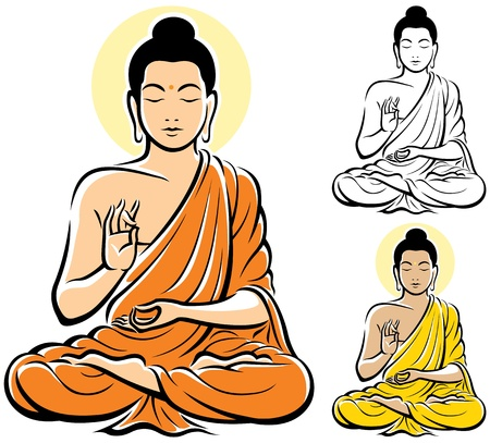 eastern spirituality: Stylized illustration of Buddha, isolated on white background. No transparency and gradients used.