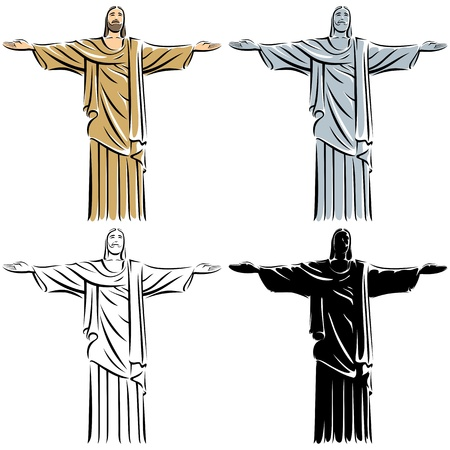 black jesus: Stylized illustration of Jesus Christ in 4 versions.  No transparency and gradients used.