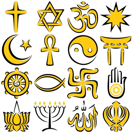 Set of 16 religious symbols, executed in line art.  No transparency and gradients used.