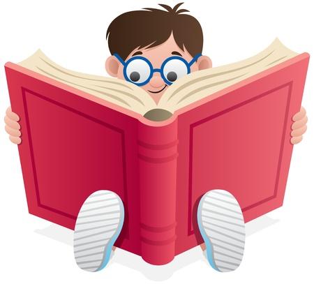 libro caricatura: Little Boy, leyendo un libro sobre fondo blanco. No utilizada la transparencia. Degradados (lineales) b�sicos utilizados.  Vectores