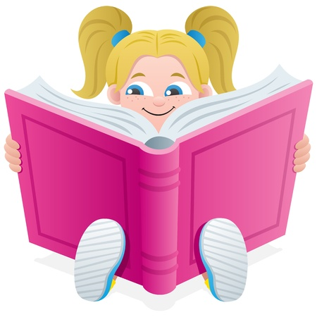 Little girl, reading a book over white background. No transparency used. Basic (linear) gradients used.  Vector