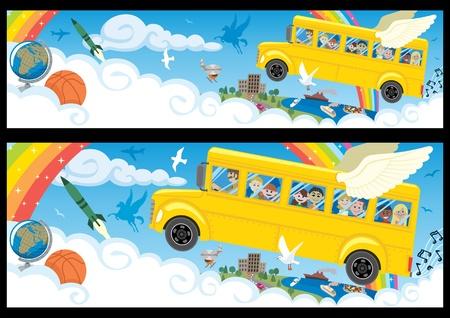 niños con pancarta: Banner de dibujos animados en dos versiones, diferenciándose sólo en las proporciones.   Vectores