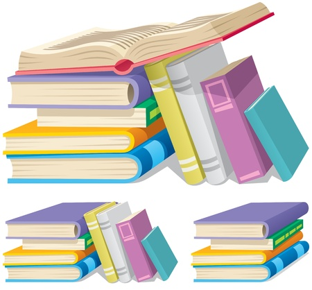 Illustration of a cartoon book pile in 3 different versions.