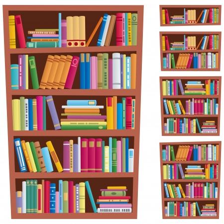 Cartoon illustratie van een boekenkast in 5 verschillende versies.